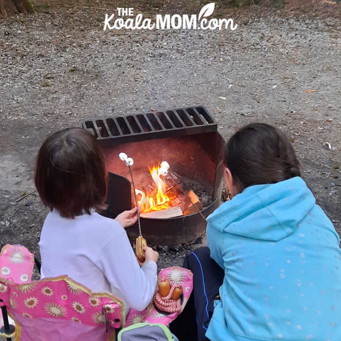 13-year-old and 8-year-old roasting marshmallows over a campfire.