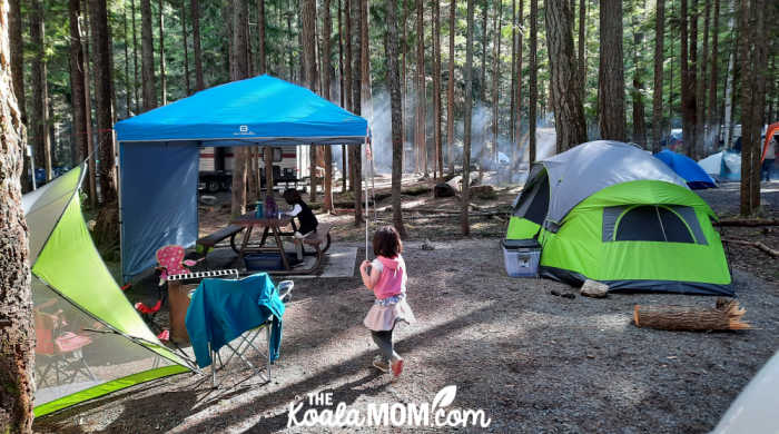 Our campsite at Chilliwack Lake Campground, with our tent, picnic canopy, and sun shelter.
