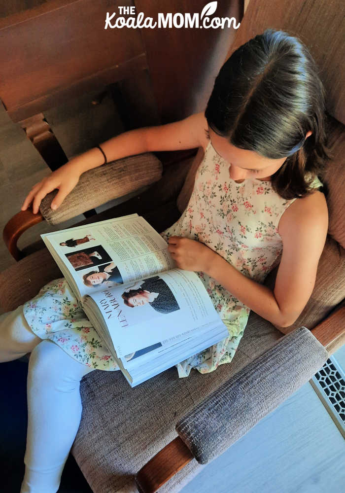 11-year-old reading Worthy of Wearing by Nicole M. Caruso.