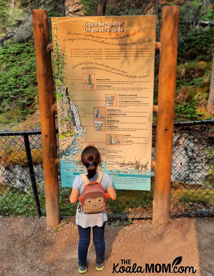 """Liquid Sandpaper:"" an interpretive sign along explains the process of erosion."