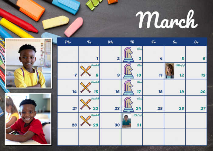 Your child's personalized school calendar is eye-catching and fun and keeps them organized!
