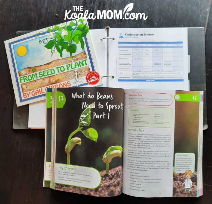 Seeds unit study: book to read, suggested schedule, and experiment to do in the Bookshark science homeschool kit.