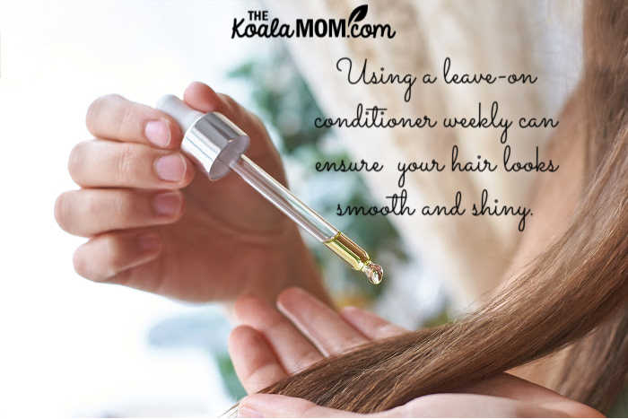 Using a leave-on conditioner weekly can ensure your hair looks smooth and shiny.