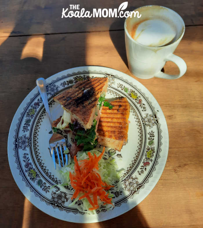 Panini and coffee at the Wild Flour Cafe in Clearwater, BC.