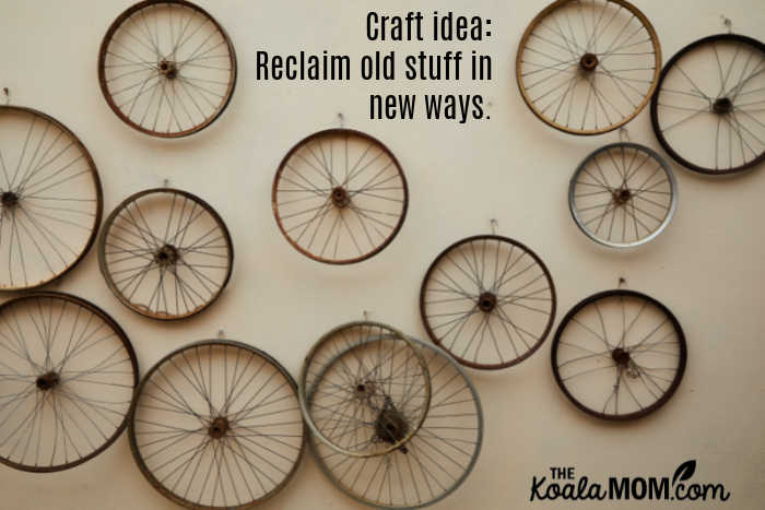 Reclaim old stuff in new ways, like these bike wheels hanging decoratively on a wall. Photo by Laker from Pexels.